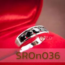 แหวนนิล แหวนพลอยแถว แหวนเงินแท้ 925 ฝังนิล อัญมณีสีดำ เม็ดกลม 5เม็ด