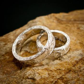 ชุดแหวนคู่รัก แหวนเงินแกะลายรอบวง แหวนเงินแท้ #3