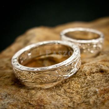 ชุดแหวนคู่รัก แหวนเงินแกะลายรอบวง แหวนเงินแท้ #4
