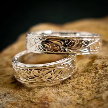ชุดแหวนคู่รัก แหวนเงินแกะลายรอบวง แหวนเงินแท้ #5