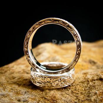 ชุดแหวนคู่รัก แหวนเงินแกะลายรอบวง แหวนเงินแท้ #6