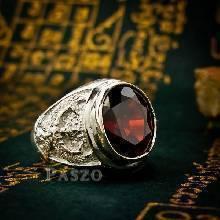 แหวนพญาครุฑ แหวนผู้ชาย แหวนเงินผู้ชาย ฝังพลอยโกเมนสีแดงก่ำ แหวนเงินแท้ 925