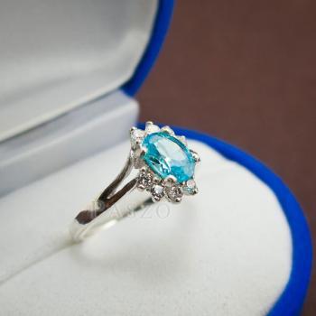 แหวนพลอยบลูโทพาซ เพชรข้างละ3เม็ด แหวนเงิน #2