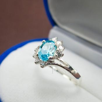 แหวนพลอยบลูโทพาซ เพชรข้างละ3เม็ด แหวนเงิน #3