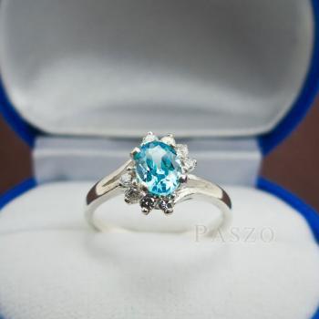 แหวนพลอยบลูโทพาซ เพชรข้างละ3เม็ด แหวนเงิน #4