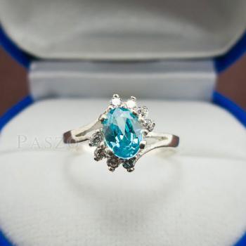 แหวนพลอยบลูโทพาซ เพชรข้างละ3เม็ด แหวนเงิน #5