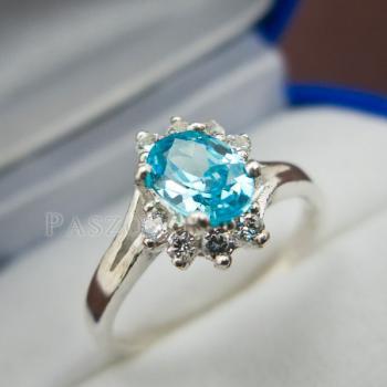 แหวนพลอยบลูโทพาซ เพชรข้างละ3เม็ด แหวนเงิน #6