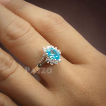 แหวนพลอยบลูโทพาซ เพชรข้างละ3เม็ด แหวนเงิน #7