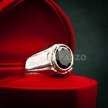 แหวนผู้ชาย แหวนเงินแท้ ฝังนิล อัญมณีสีดำ แหวนพลอยนิล