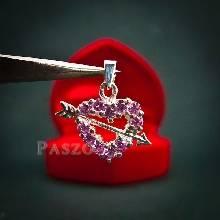 จี้รูปหัวใจ ฝังพลอยสีชมพู ปักลูกศรกามเทพ  จี้เงินแท้ จี้พลอยสีชมพู