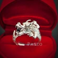 แหวนมังกร แหวนมังกร ตาฝังพลอมรกต ปากคาบนิล  แหวนเงินแท้