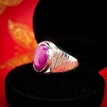 แหวนพลอยลิลลี่สตาร์ สีชมพู แหวนเงินผู้ชาย ฝังพลอยลิลลี่สตาร์ แหวนเงินแท้