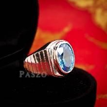 แหวนพลอยบูลโทพาซ แหวนผู้ชายเงินแท้ ฝังพลอยบลูโทพาซ สีฟ้า
