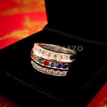 แหวนเงินแท้ เม็ดกลม เพชร #3