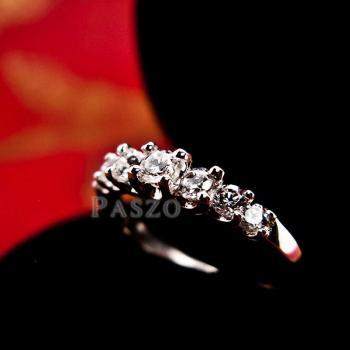 แหวนเพชร 7เม็ด แหวนเงิน #3