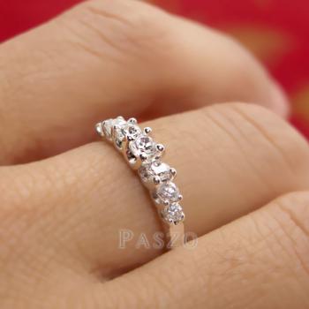 แหวนเพชร 7เม็ด แหวนเงิน #7