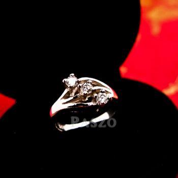 แหวนเพชร 3เม็ด แหวนเงินแท้ #2