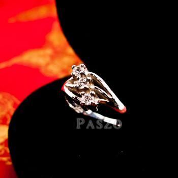 แหวนเพชร 3เม็ด แหวนเงินแท้ #3