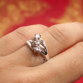 แหวนเพชร 3เม็ด แหวนเงินแท้ #4