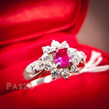แหวนพลอยทับทิม พลอยสีแดง ล้อมรอบด้วยเพชร #2