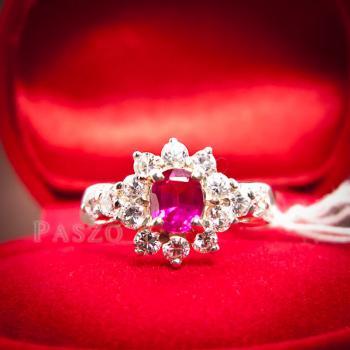 แหวนพลอยทับทิม พลอยสีแดง ล้อมรอบด้วยเพชร #4