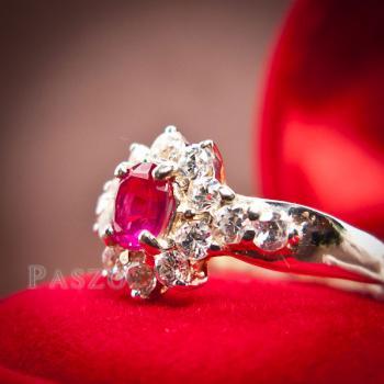 แหวนพลอยทับทิม พลอยสีแดง ล้อมรอบด้วยเพชร #6
