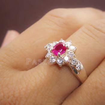 แหวนพลอยทับทิม พลอยสีแดง ล้อมรอบด้วยเพชร #7