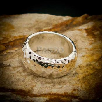แหวนตอกลายค้อน หน้ากว้าง8มิล แหวนเงินแท้ #2