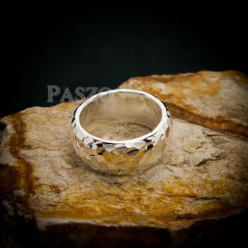 แหวนตอกลายค้อน หน้ากว้าง8มิล แหวนเงินแท้ #3