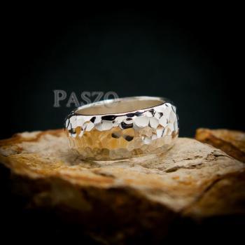แหวนตอกลายค้อน หน้ากว้าง8มิล แหวนเงินแท้ #4