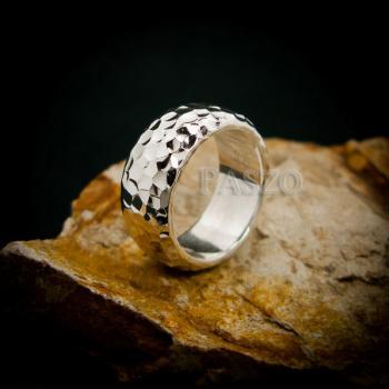 แหวนตอกลายค้อน หน้ากว้าง8มิล แหวนเงินแท้ #5
