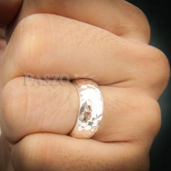 แหวนตอกลายค้อน หน้ากว้าง8มิล แหวนเงินแท้ #9