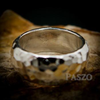 แหวนตอกลายค้อน หน้ากว้าง8มิล แหวนเงินแท้ #7