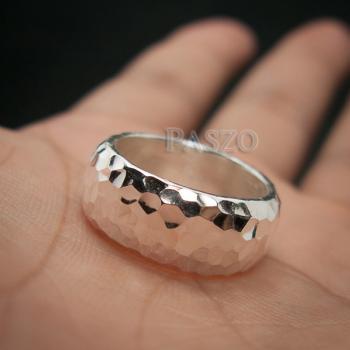 แหวนตอกลายค้อน หน้ากว้าง8มิล แหวนเงินแท้ #8