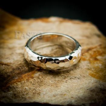 แหวนตอกลายค้อน หน้ากว้าง4มิล แหวนเงินแท้ #2