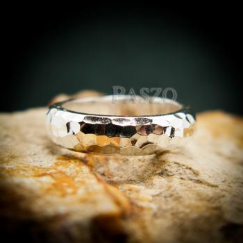 แหวนตอกลายค้อน หน้ากว้าง4มิล แหวนเงินแท้ #4