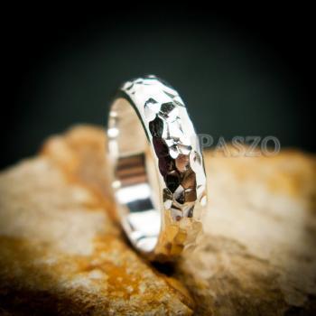 แหวนตอกลายค้อน หน้ากว้าง4มิล แหวนเงินแท้ #5