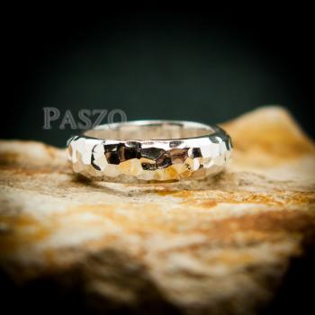แหวนตอกลายค้อน หน้ากว้าง4มิล แหวนเงินแท้ #3