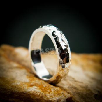 แหวนตอกลายค้อน หน้ากว้าง4มิล แหวนเงินแท้ #6
