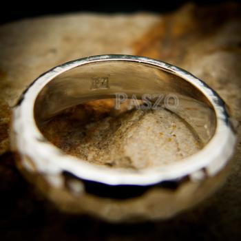 แหวนตอกลายค้อน หน้ากว้าง4มิล แหวนเงินแท้ #7