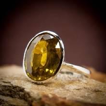 แหวนบุษราคัม พลอยสีเหลือง แหวนเงินแท้ พลอยบุษราคัม เม็ดเดี่ยว แหวนขนาดกลาง ฝังหุ้ม