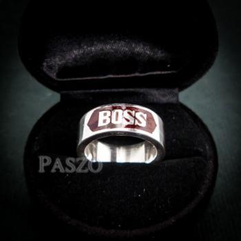 แหวนนามสกุล หน้ากว้าง8มิล แหวนลงยาสีแดง #2