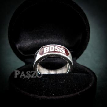 แหวนนามสกุล หน้ากว้าง8มิล แหวนลงยาสีแดง #5