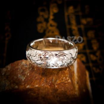 แหวนแกะลายไทย หน้ากว้าง8มิล แหวนเงินแท้ #2