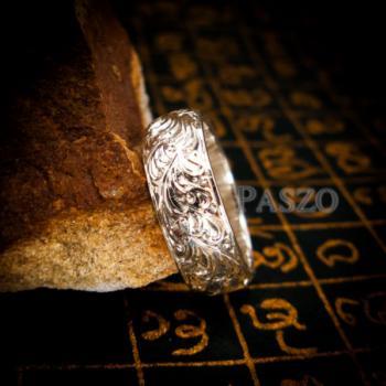แหวนแกะลายไทย หน้ากว้าง8มิล แหวนเงินแท้ #3