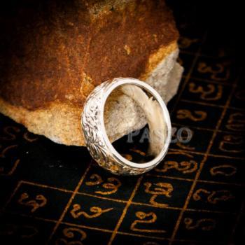 แหวนแกะลายไทย หน้ากว้าง8มิล แหวนเงินแท้ #4