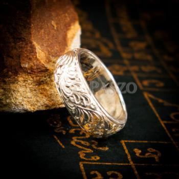แหวนแกะลายไทย หน้ากว้าง8มิล แหวนเงินแท้ #5