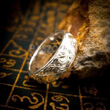 แหวนแกะลายไทย หน้ากว้าง8มิล แหวนเงินแท้ #6