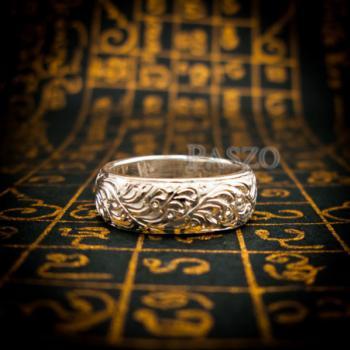 แหวนแกะลายไทย หน้ากว้าง8มิล แหวนเงินแท้ #8