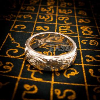แหวนแกะลายไทย หน้ากว้าง8มิล แหวนเงินแท้ #9
